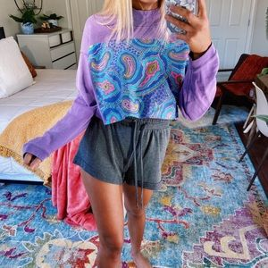 vintage purple cropped pullover